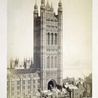 Victoria Tower, New Palace of Westminster. Photograph by Stephen Ayling, 1867. © Victoria & Albert Museum, London. 61:115.