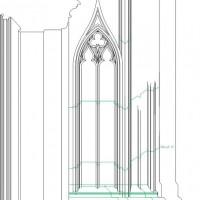 Detail of St Stephen's Upper Chapel buttress, drawing in progress. © James Hillson 2014