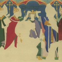 The Coronation of St Edward the Confessor, Thirteenth-Century Mural in the Painted Chamber, the Palace of Westminster, recorded by Charles Stothard. Coloured engraving, published in the sixth volume of Vetusta Monumenta, 1821-1885.
