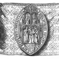 Medieval seal of the College, from Brayley & Britton's <em>Ancient Palace</em> (1836).