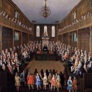 'The House of Commons in Session', by Peter Tillemans, c.1709-14. Oil on canvas, 137.2 × 123.2 cm.  Parliamentary Art Collection, Palace of Westminster, WOA 2737. © Parliamentary Art Collection.