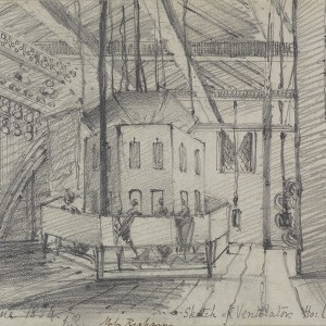 'The Ventilator and Ladies Gallery in the Attic of St Stephen's', by Frances Rickman, 1834. Pencil on paper. Parliamentary Art Collection, Palace of Westminster, WOA 26. © Parliamentary Art Collection.