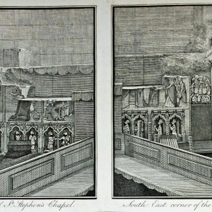 'North East corner of St Stephen's Chapel' and 'South East corner of the same Chapel', from J. T. Smith, <em>The Antiquities of Westminster</em>, London, 1807, plate opposite p. 153.