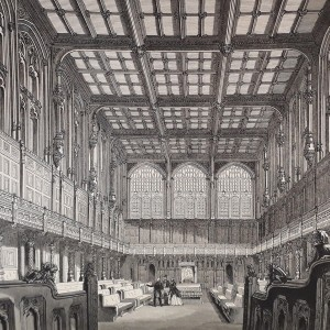 'The New House of Commons, Westminster: Mr. Barry R. A., Architect', by George Godwin, c. 1850. Monochrome engraving on paper. From George Godwin, 'Buildings and Monuments, Modern and Medieval: Being Illustrations of the Edifices of the 19th Century, and Some of the Architectural Works of the Middle Ages' (London: The Office of 'The Builder', 1850), opp. p. 86.