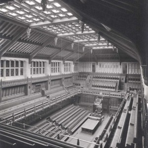 'Commons Chamber, 1950, from the South East'. Monochrome photograph. Estates' Archive, Palace of Westminster. © UK Parliament/Estates Archive.