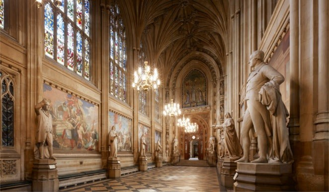 St Stephen's Hall, the Palace of Westminster, looking west. © Parliamentary Estates Directorate.