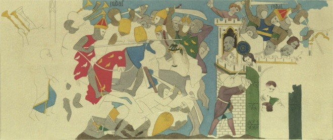 The Battle of Judas Maccabeus with Timotheus, Thirteenth-Century Mural in the Painted Chamber, the Palace of Westminster, recorded by Charles Stothard. Coloured engraving, published in the sixth volume of Vetusta Monumenta, 1821-1885.