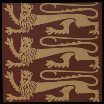 The Royal Lions of England, designed by A.W. Pugin. Encaustic tile, 1850. © The Victoria & Albert Museum, London, C 150-1982.