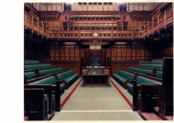 'Commons Interior Looking North'. Colour photograph. Estates' Archive, Palace of Westminster. © UK Parliament/Estates Archive.