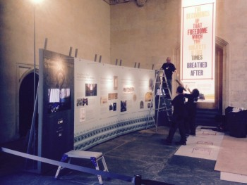 The Exhibition being assembled in Westminster Hall.