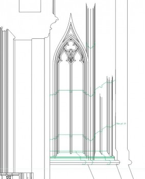 Detail of St Stephen's Upper Chapel buttress, drawing in progress. © James Hillson 2014