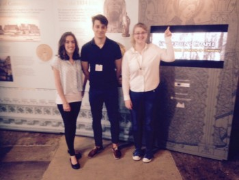 Our three IPUP interns, Lizzie, Liviu and Kattherine, on site in Westminster Hall.