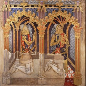 Ernest Tristram (after Richard Smirke). Two Sons of Edward III (john of Gaunt on the left), from the East Wall of St Stephen's Chapel. Tempera on canvas, c.1927. © Palace of Westminster Art Collection WOA 2926, http://www.parliament.uk/art